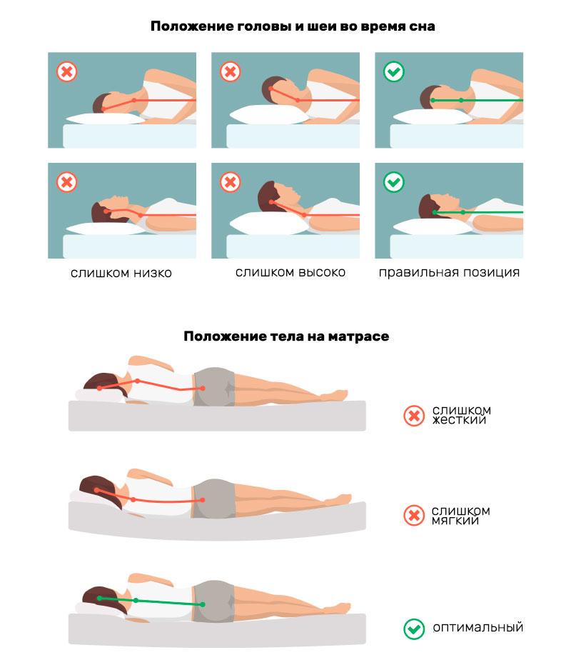 схема положения позвоночника во время сна