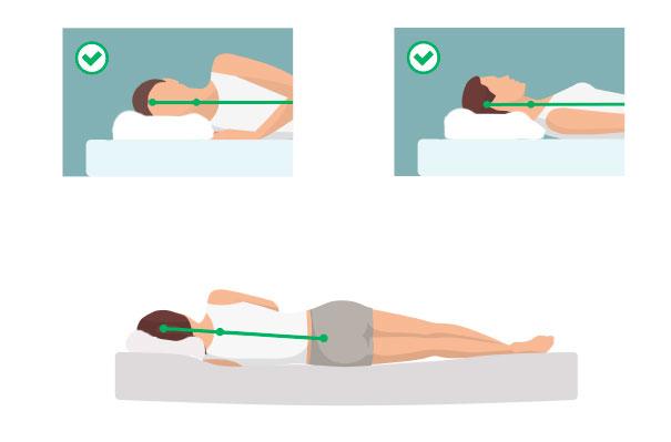 положение головы, шеи и позвоночника во время сна на ортопедической подушке